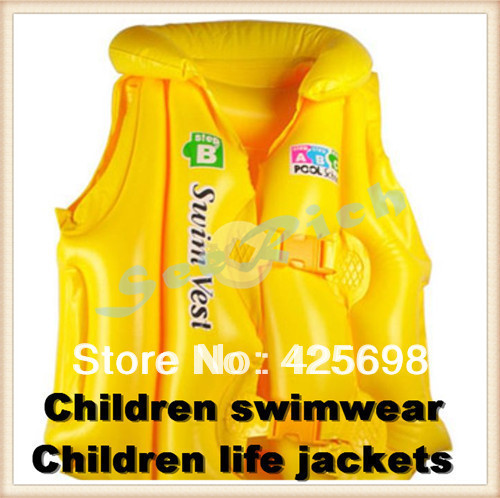 Children's swimwear / Children inflatable life jackets for Children learn to swim Soft & smooth PVC Adjustable elastic #S/M/L