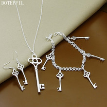 En Kaliteli 925 Gümüş Kolye Bilezik Küpe Anahtar Takı Setleri Kadın Kolye Bilezik Küpe