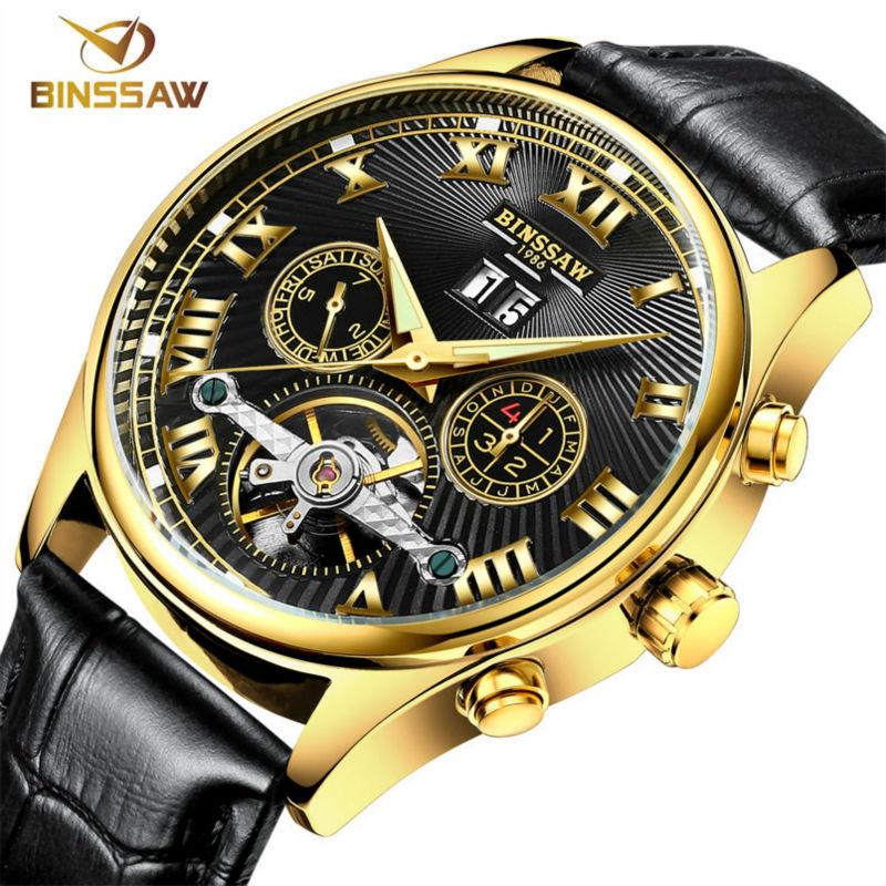 BINSSAW 2016 Watches Men Luxury Top Brand tourbillon Mechanical Watch Fashion business sport casual Wristwatch relogio