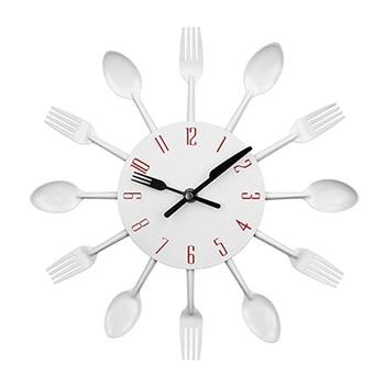 Cutlery Metal Kitchen Wall Clock Spoon Fork Creative Quartz Wall Mounted Clocks Modern Design Decorative Horloge Murale Hot Sale 10