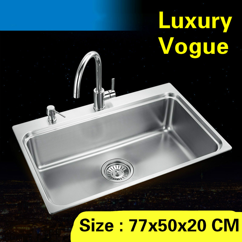 Free shipping Standard luxurious kitchen single trough sink durable food grade stainless steel whole drawing hot sell 77×50 CM