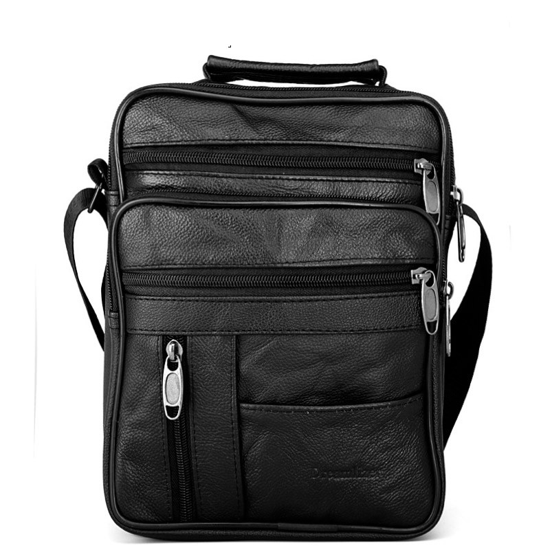 Real Cowhide Leather Men Handbags Black Male Messenger business Bags Men's Small Strap Adjustable Briefcase Man Crossbody Bags цена