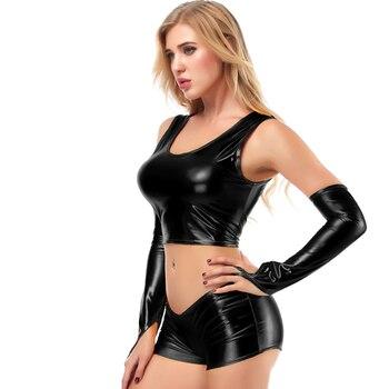 Women Pu Metallic Leather High Waist Club Bikini Tank Crop Top Bra Shirt Latex Wetlook Vest Gloves Shorts 3 Piece Set Lingerie 1