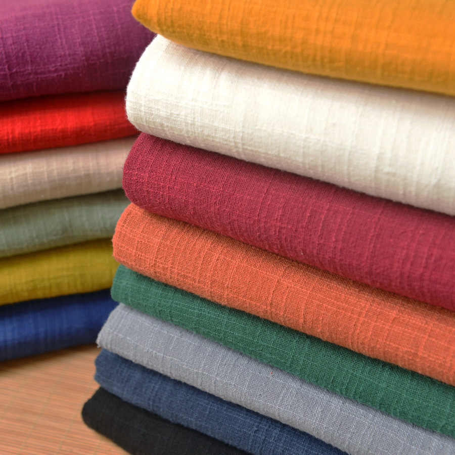 130x 50cm Double layer solid color Sand washing treatment cotton linen cloth slub soft fabric diy dress clothing handmade 270g/m