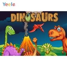 Yeele Vinyl Cartoon Dinosaurs Volcano Baby Birthday Party Photography Backdrop Children Boy Photographic Background Photo Studio