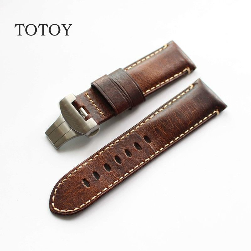TOTOY Handmade Italian Leather Strap, 24MM For PAM111 Butterfly Buckle Strap, Retro Oil Wax Leather Men's Strap, Fast Delivery hand made oil wax leather watchbands 24mm retro leather strap classic male models for pam italian calfskin strap
