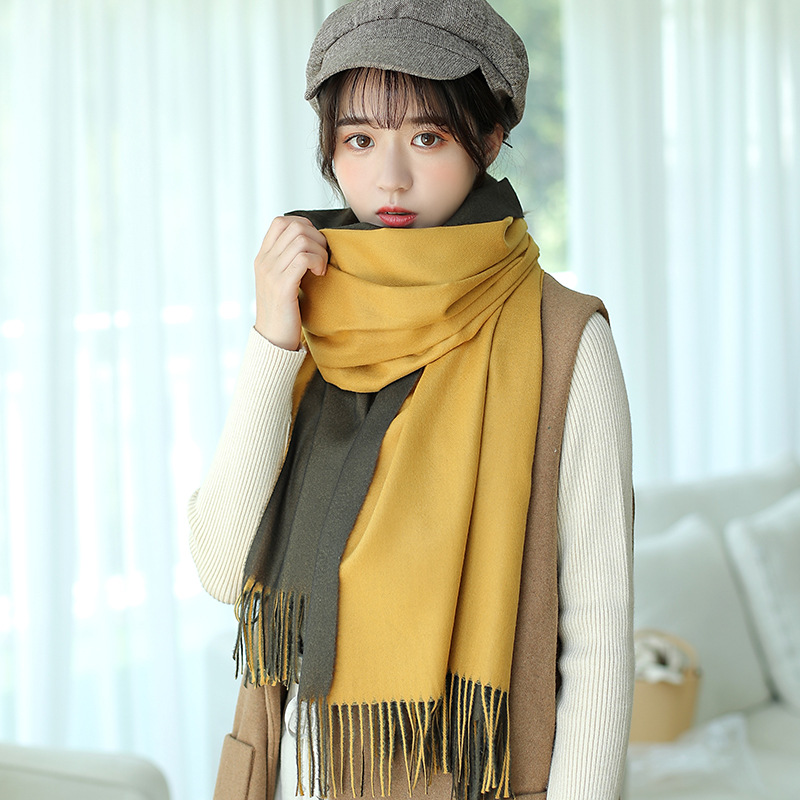 Winter Women Double-sided Cashmere   Scarf   Oversized Blanket Pashmina   Scarf   Shawls Luxury Brand Thick Warm Long   Scarves     Wraps
