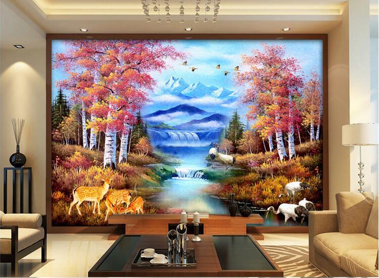 Us 1477 47 Off3d Ruang Wallpaper Kustom Mural Non Woven Stiker Dinding Pedesaan Hutan Gunung Salju Pemandangan Lukisan Foto 3d Dinding Mural