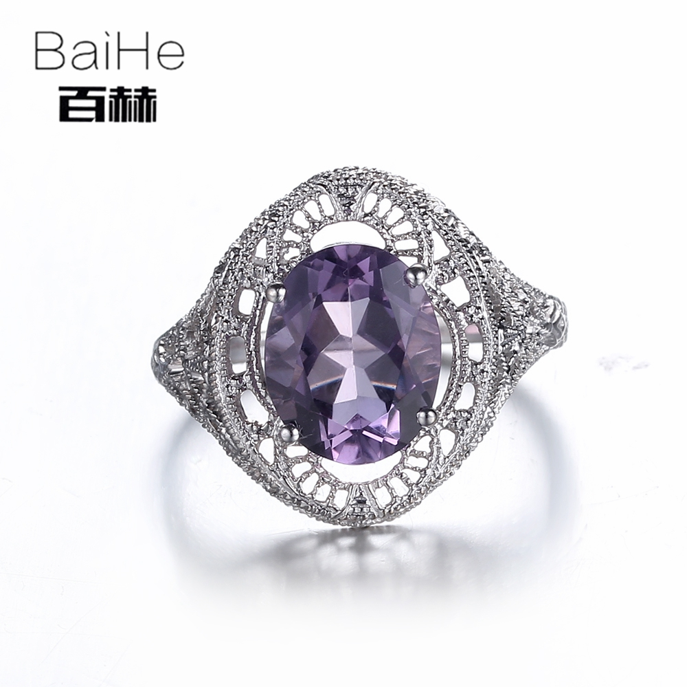 BAIHE Sterling Silver 925 2.68CT Certified Flawless 100% Genuine Amethyst Engagement Women Trendy Fine Jewelry Ring цена