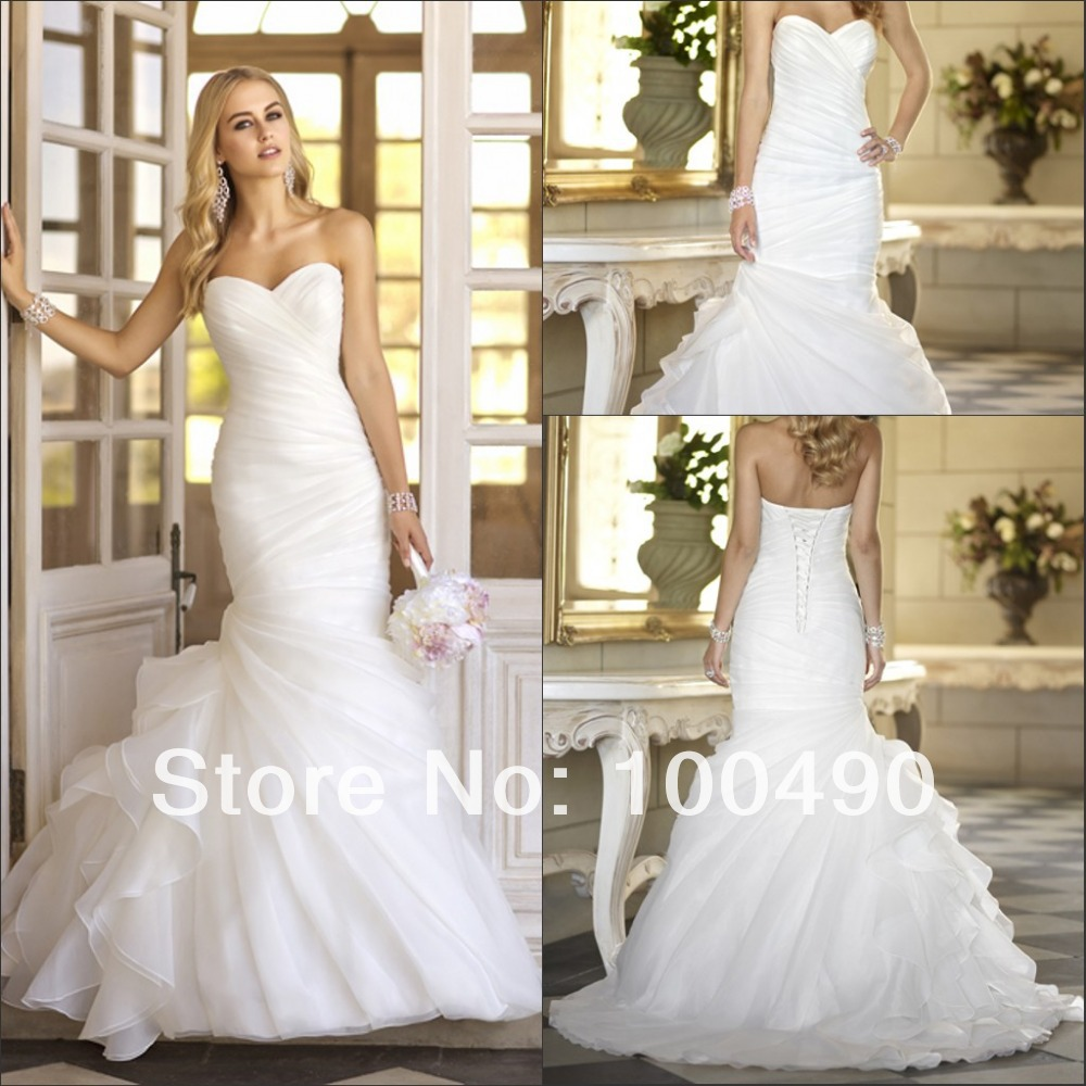 Fantasy Diagonal Pleat Sweetheart Neckline Organza Side Ruffles Bridal Dresses Wedding Gown Trumpet With Sweep Tail In From Weddings