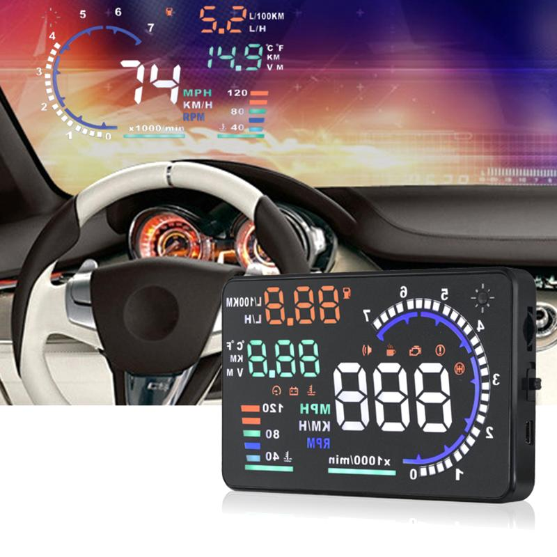 A8 5.5 HD Color Screen HUD OBD EUOBD Head UP Display Car Speed Projector on Windshield Overspeed Temp Alarm Auto Speedometer