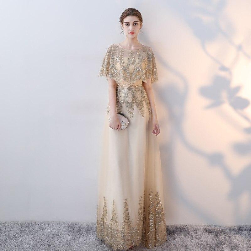 Haute Qualité Vintage Maille or robe châle longue robe de soirée à paillettes Lune de Miel robe mince dîner partie hôte festival vêtements