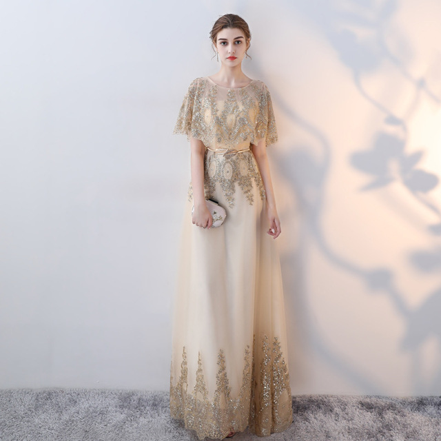 High Quality Vintage Mesh gold dress shawl long evening gown ...