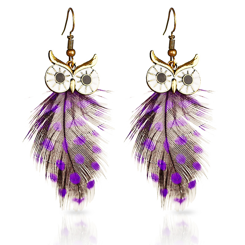Tocona Trendy Red and Purple Owl Feather Drop Earrings for Women Ethnic owl Animal Dangle Earrings Jewelry Gifts