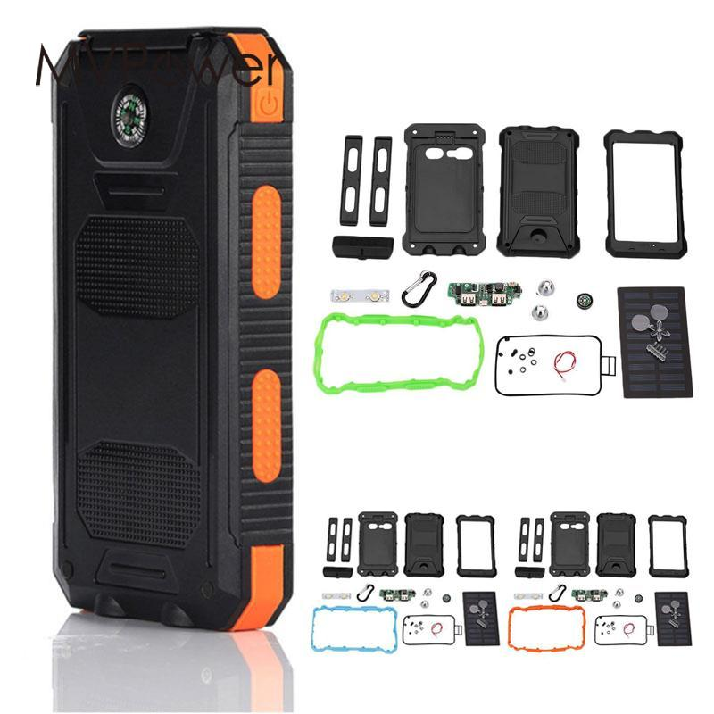 MVpower Waterproof LED Dual USB Solar Panel Power Bank Case Battery Charger DIY Kit Set Outdoor Travelling Powerbank Power Gift