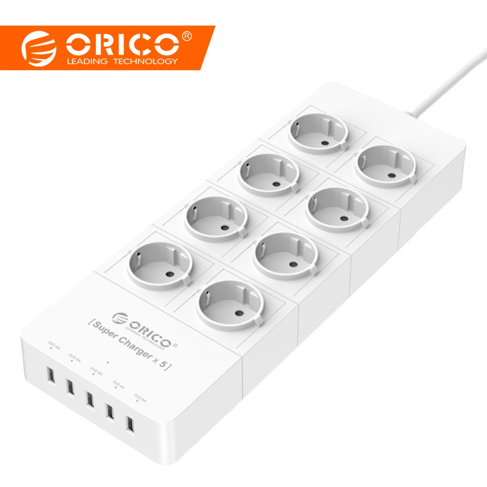 ORICO HPC-8A5U L'UE prise usa ru 8 Sortie parasurtenseur Stirpe Pouvoir avec 5x5V2. 4A USB super chargeur Ports Blanc Noir