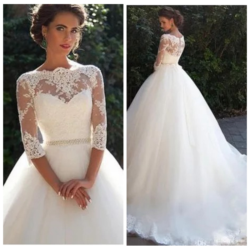 2019 Half Sleeves Lace Appliques A-Line Wedding Dresses Modest Bridal Gowns Formal Garden Spring Vestidos De Marriage Women