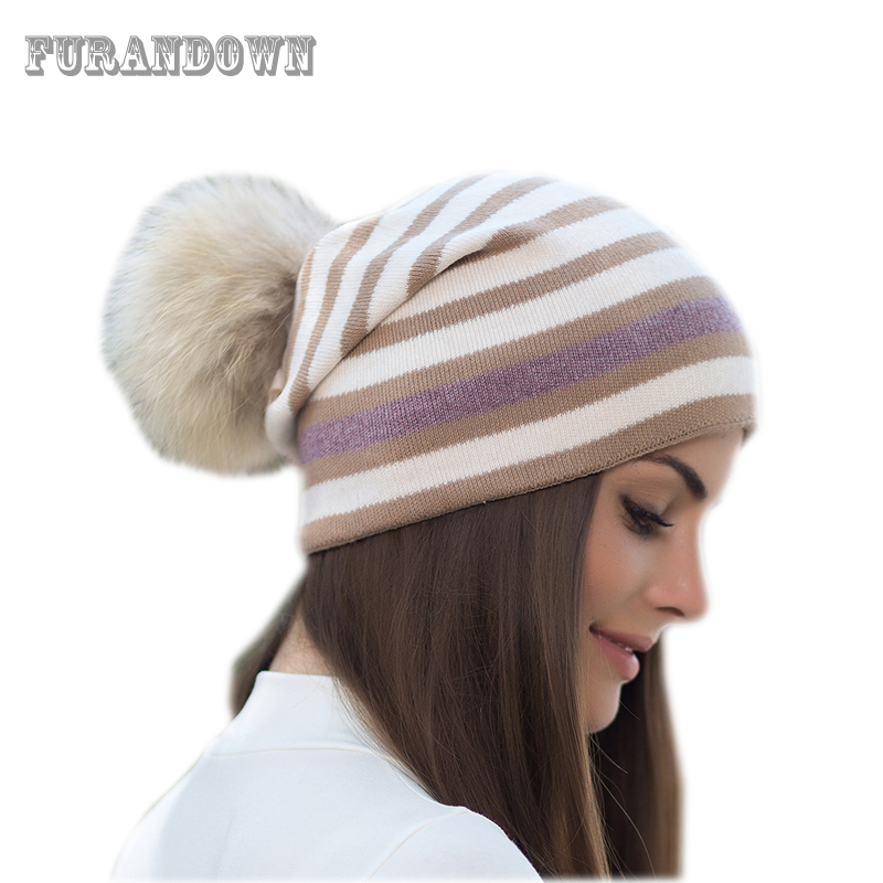 Fur Pompom   Beanie   Winter Striped Knitted Hats For Women Wool   Skullies     Beanies   Girls Hat Cap High Quality