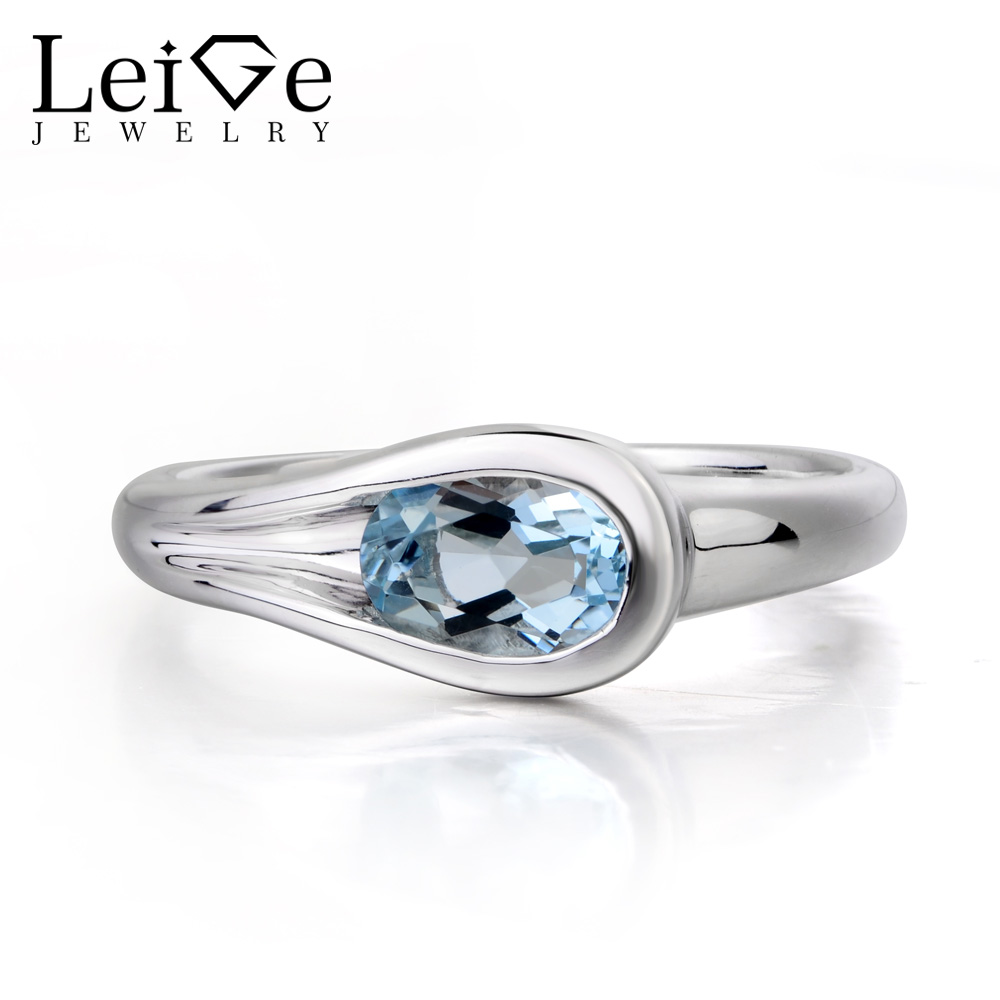 Leige Jewelry Anniversary Ring Natural Aquamarine Ring Blue Gems Ring Solid 925 Sterling Silver March Birthstone Fine Jewelry ring luisa vannini jewelry ring