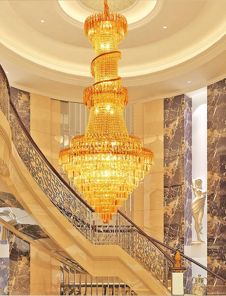 Ոսկե բյուրեղապակի ջահ, շքեղ երկար - Ներքին լուսավորություն - Լուսանկար 5