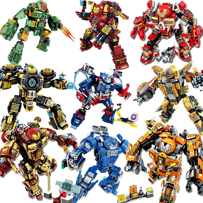 7110 MK46 Super heros Marvel Avengers Building Blocks Ultron Iron Man Hulk Buster Bricks Toys Compatible With legoing