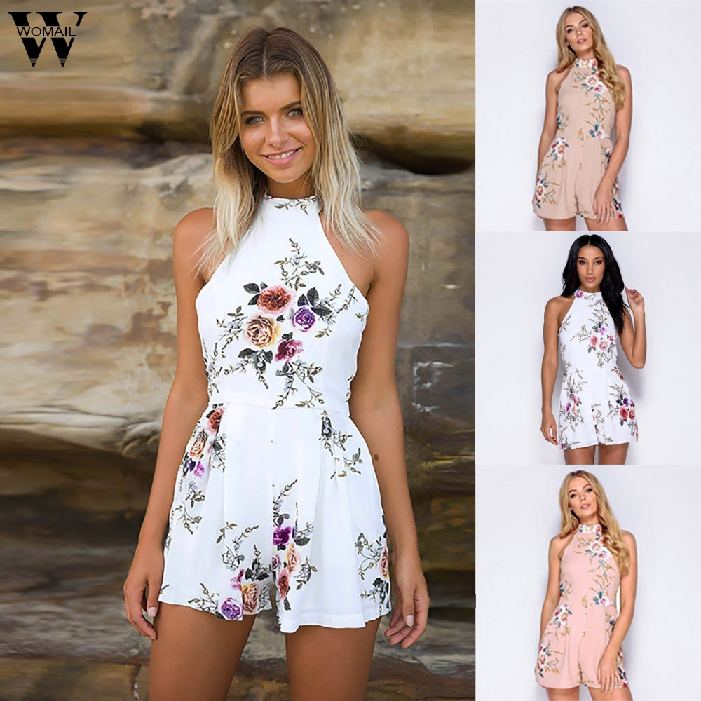 Womail Bodysuit Women Summer Fashion Print High Neck Floral Mini Playsuit Ladies Shorts Jumpsuit  Overalls New  2020  M5