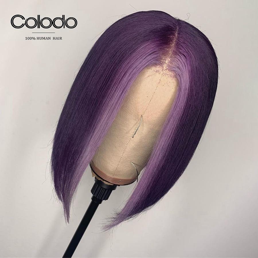 COLODO 13x4 avant de lacet perruques de cheveux humains Ombre rouge Bob sans colle avant de lacet perruque Remy courte perruques humaines pour les femmes précoiffées ligne de cheveux