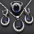 Blue Stone White Cubic Zirconia 925 Sterling Silver For Women Necklace Earrings Rings Jewelry Set Free Shipping  JS017