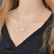 Fashion Simple White Blue Marbled Howlite Bar Pendant Necklace Gold Color White Natural Stone Layered Necklace Women Accessories adjustable bar layered wrap necklace