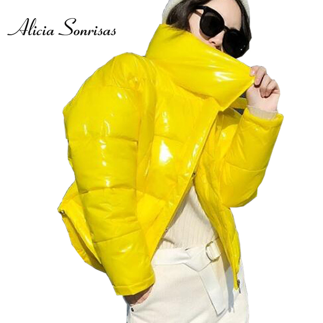 2018 Glossy Winter Down Cotton Padded Jacket For Women Thick Bright Black Short Shiny Jacket Yellow