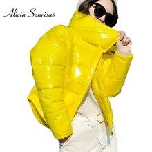 2019 błyszczący zimowy dół ocieplana kurtka z bawełny dla kobiet gruby jasnoczarny krótki błyszczący kurtka żółty czerwony bawełny parki AS809