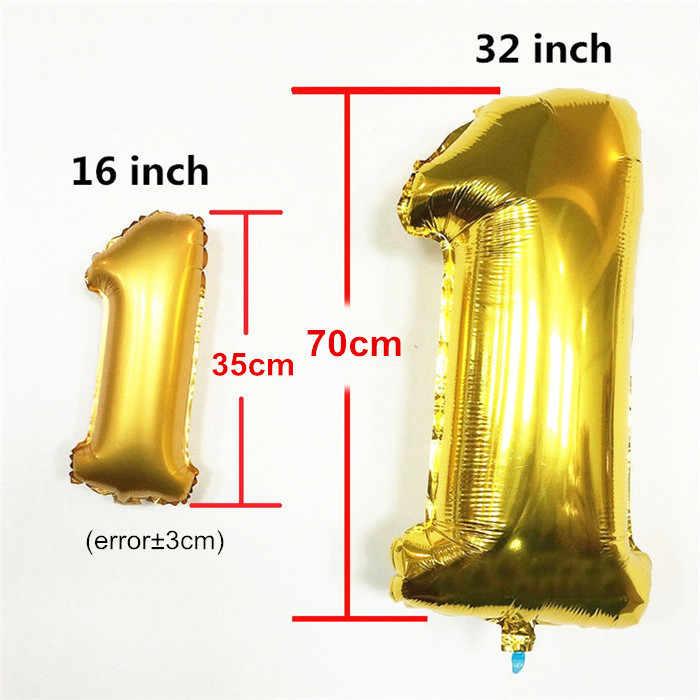 32 Polegada Grande Foil Número Balão de Hélio Figuras Feliz Aniversário Balões de Ar Decorações Da Festa de Aniversário Balões de Aniversário Do Miúdo Balon