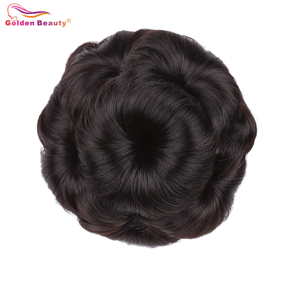 Curly Synthetic Hair Chignon Clip In Hairpiece Extensions With