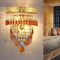 Fashion Crystal Wall Lamp Bedroom Bedside Wall Lamp Living Room Background Wall Gold Hotel Project 220V