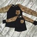 2016 nova boutique meninas do bebê T-shirt bonito do outono/inverno mãe e filho família olhar crianças top roupas bolso Leopardo babados