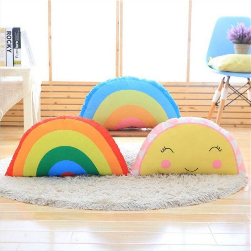 Welding Equipment Lovely Real Life Watermelon Rainbow Plush Stuffed Pillow Baby Calm Sleep Toys Kids Bed Room Home Decoration Photo Props Gift Boy