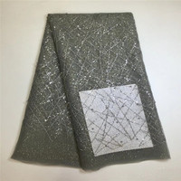 2017 Hot Latest Grey African Lace Fabric High Quality Nigeria Mesh Lace French Tulle Beaded Lace