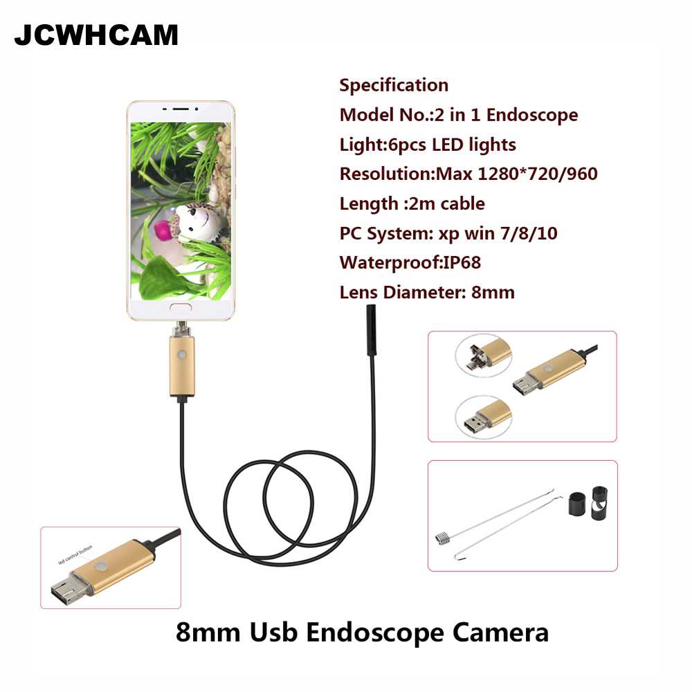 JCWHCAM Endoscope 8mm USB Endoscope Android 2M Cable PC USB Endoscopio Mini Endoscope Camera 720P Inspection Waterproof Phone wistino mini 2in1 mirco 8mm usb endoscope len camera 2m 5m10m android pc ip67 inspection surveillance boroscope endoscopio