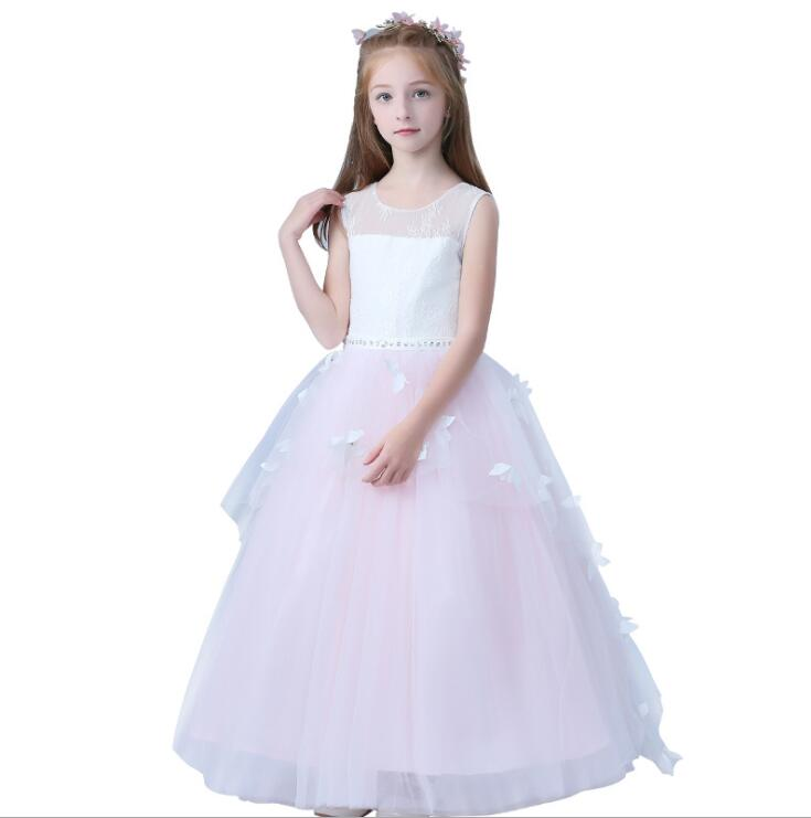 New Summer Girls Dress Princess Appliques Pink Lace Party