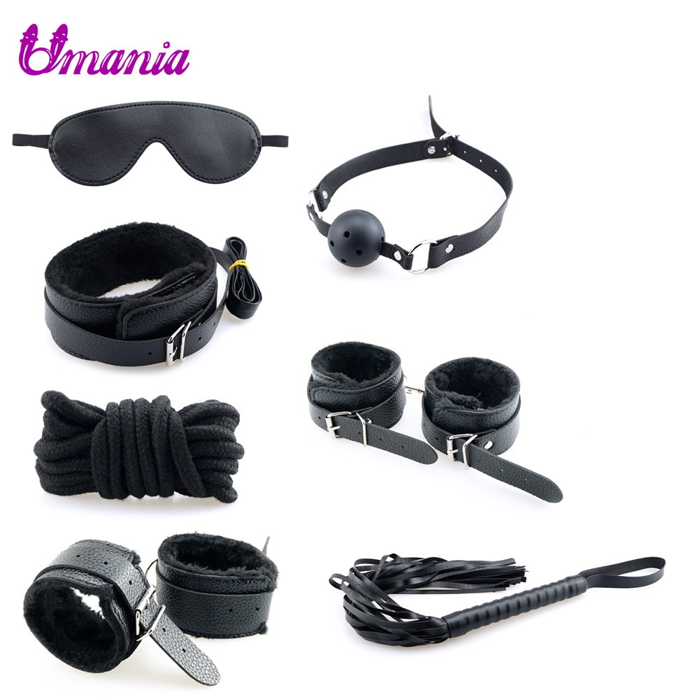 7 Pc BDSM Bondage Set Sex Products Sex Toys for Couples PU Leather Restraint Handcuffs Mask Collar Mouth Gag Adults Erotic Toys7 Pc BDSM Bondage Set Sex Products Sex Toys for Couples PU Leather Restraint Handcuffs Mask Collar Mouth Gag Adults Erotic Toys