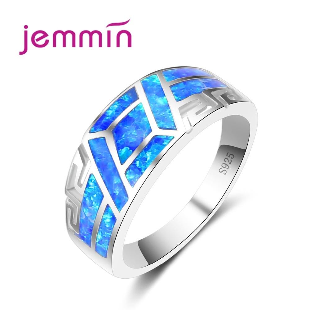 Jemmin Männer Ringe Mit Blau Opal Stein Hohl Hohl Heraus Hochzeit Engagement Reiner Fester 925 Sterling Silber Fingerring Frau Schrecklicher Wert Ringe