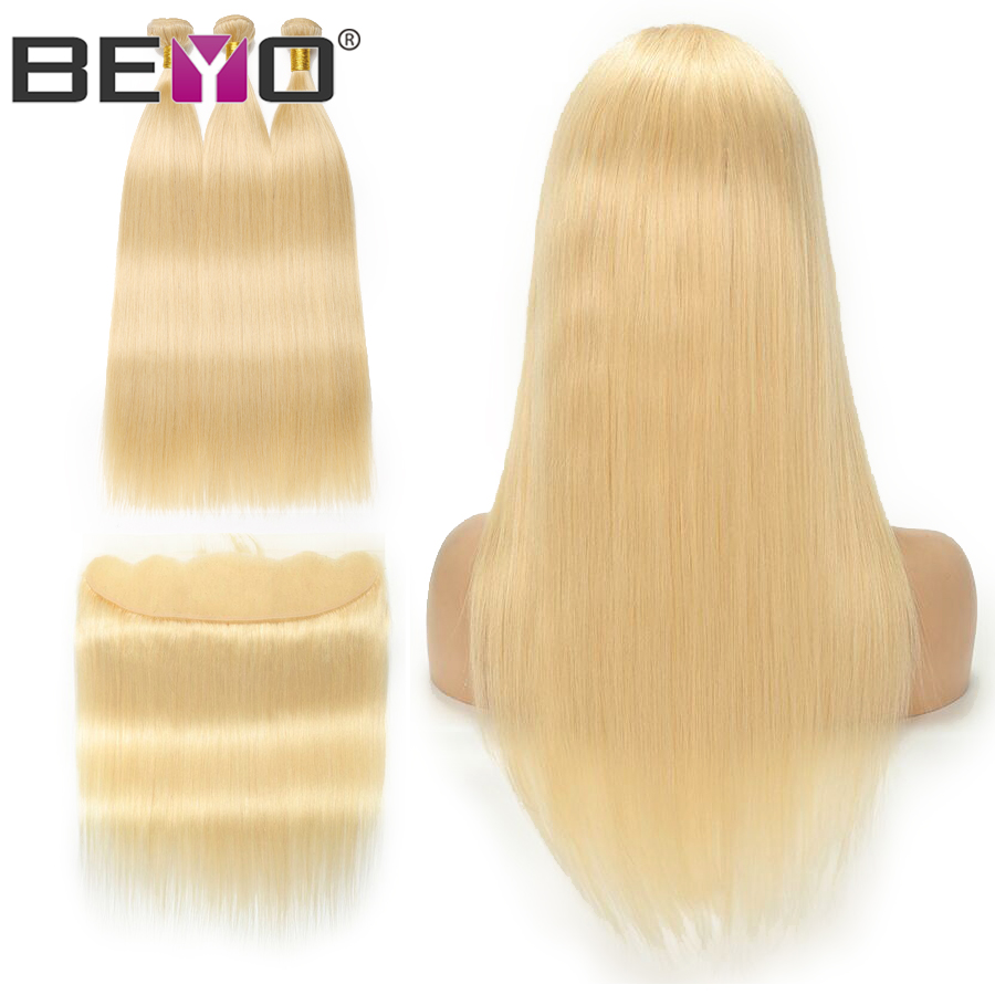 Blonde 613 Bundles With Frontal Peruvian Hair Bundles With Closure Straight Hair Bundles With Frontal NonRemy