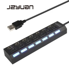 JZYuan Multi 7 port USB Hub 2.0 Adapter High Speed Ports On/Off Switch Portable Splitter For PC Computer Laptop