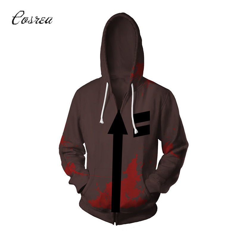Game Angels of Death Men Hoodies Zipper Isaac Foster 3D Printing One Piece Hoodie Jacket Sweater Coat Tops Cosplay Hoodie