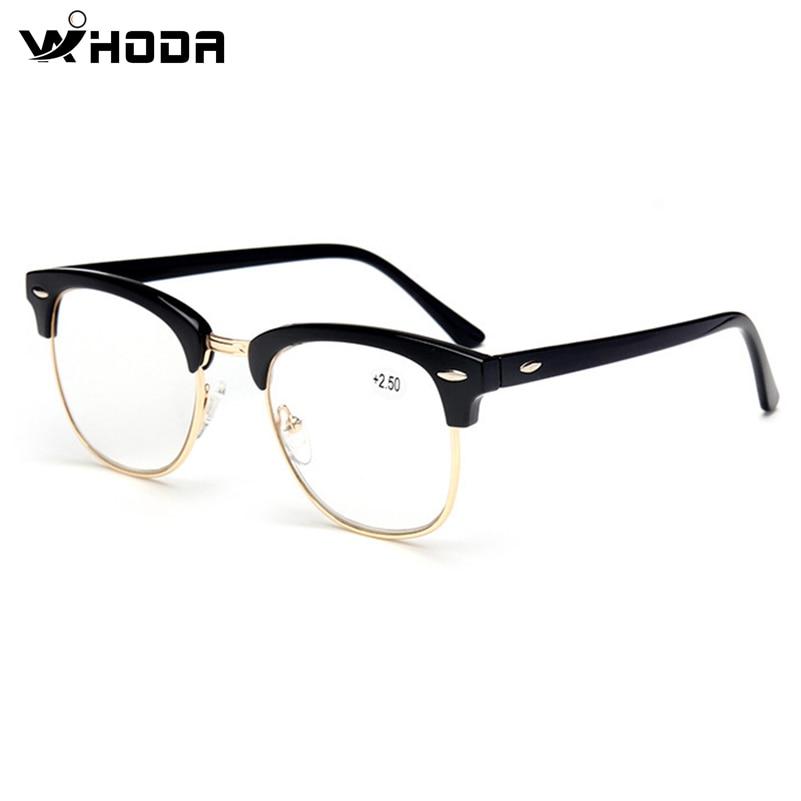 Plastic Titanium Reading Glasses Semi-Rimless Men Eyeglasses Women New Hyperopia Gift For Father +1.50 +2.00 +2.50 +3.00 R101