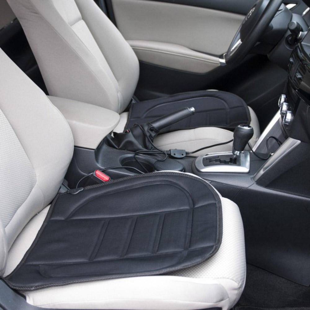 2 In1 Car Heated Seat Cushion Warmer Cover 12V Winter Auto Heating Pads Rear Back Heater Temperature Controller Blackseat