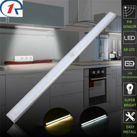 ZjRight 68 Led Lamp USB Rechargeable battery PIR sensor cabinet Auto Motion Kitchen bedroom Wardrobe indoor Stair wall lights