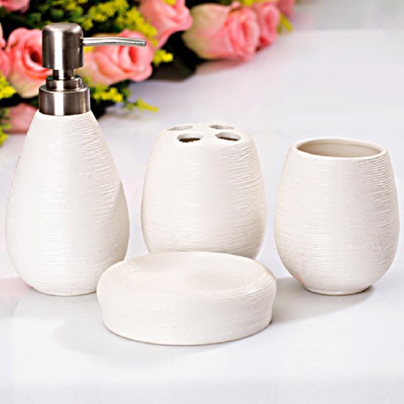 4PCS Bathroom Set Ceramic Home Creative Bathroom Beauty Set Toothbrush Soap Box Electric Toothbrush Holder Bathroom Accessories