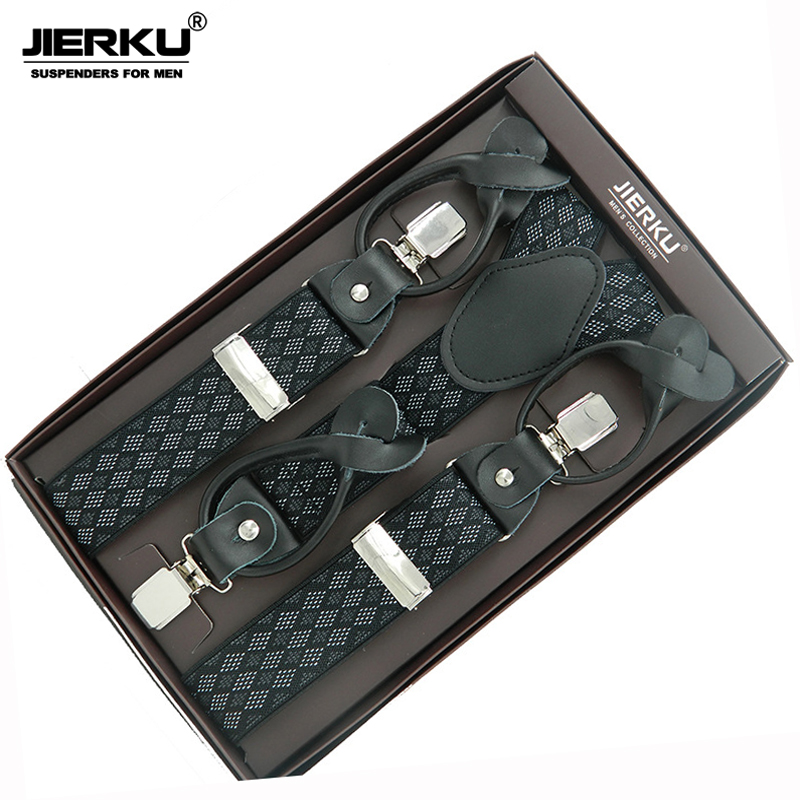 JIERKU Genuine Leather Suspenders Mans Braces 3Clips Suspensorio Buttons Suspenders Trousers Strap Father/Husbands Gift