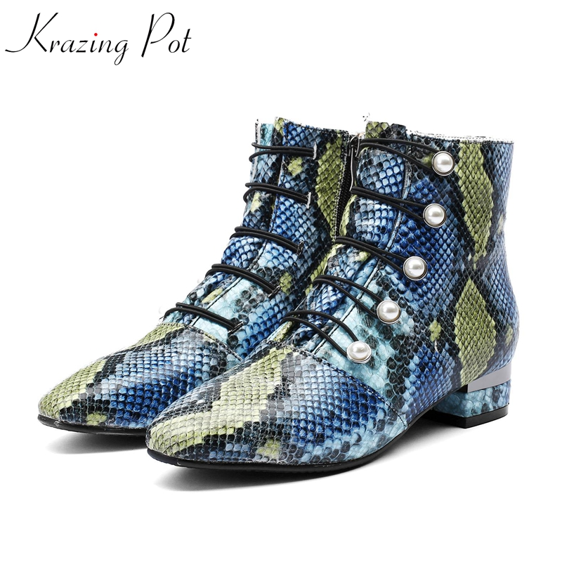 Krazing Pot 2018 cow leather round toe elastic band pearl low heels plus size career office lady Winter luxury ankle boots L82 krazing pot cow leather low heels gladiator round toe hollywood european chelsea boots plus size streetwear nude boots l83